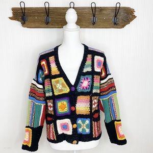 Vintage Granny Square Sweater Hand Knit Cardigan